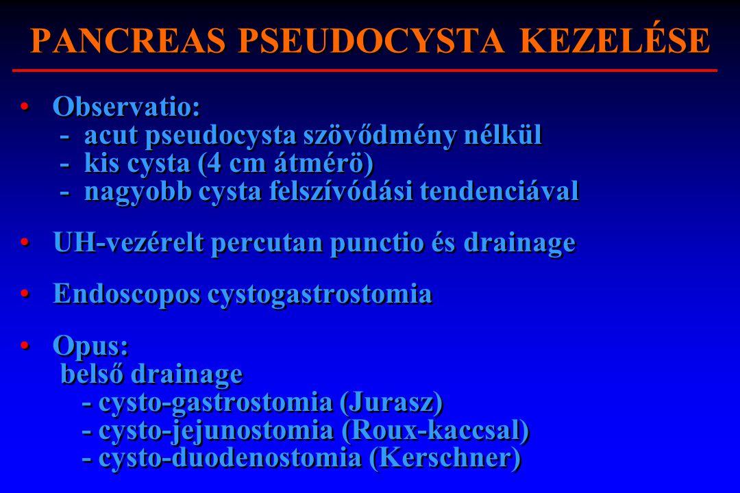 PANCREAS PSEUDOCYSTA KEZELÉSE Observatio: - acut pseudocysta szövődmény nélkül - kis cysta (4 cm átmérö) - nagyobb cysta felszívódási tendenciával UH-