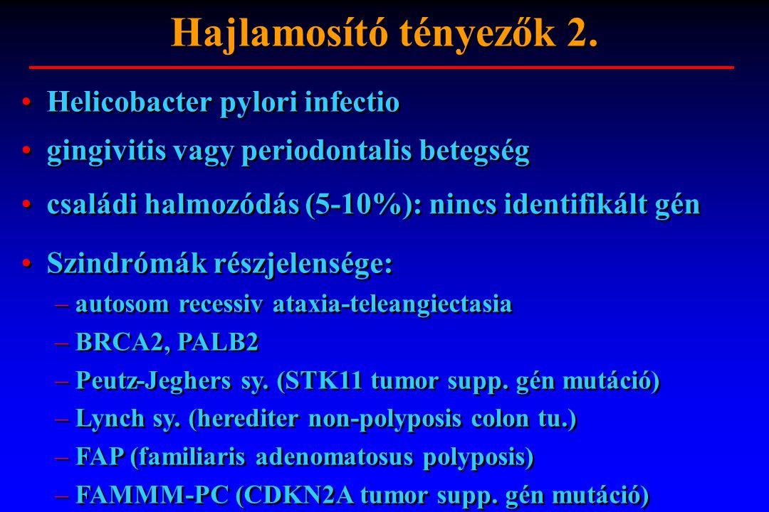 Helicobacter pylori infectio gingivitis vagy periodontalis betegség családi halmozódás (5-10%): nincs identifikált gén Szindrómák részjelensége: – aut