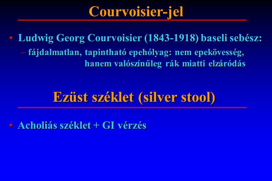 Ludwig Georg Courvoisier (1843-1918) baseli sebész: – fájdalmatlan, tapintható epehólyag: nem epekövesség, hanem valószínűleg rák miatti elzáródás Lud