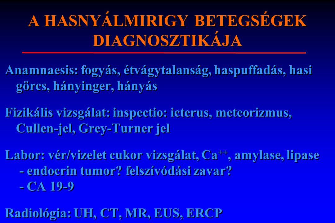 A HASNYÁLMIRIGY BETEGSÉGEK DIAGNOSZTIKÁJA Anamnaesis: fogyás, étvágytalanság, haspuffadás, hasi görcs, hányinger, hányás Fizikális vizsgálat: inspecti