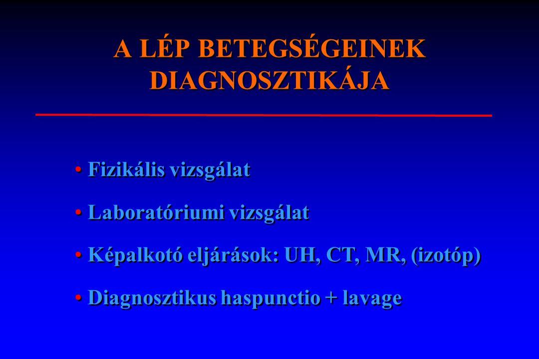 A LÉP BETEGSÉGEINEK DIAGNOSZTIKÁJA l 1. Fizikális vizsgálat 2. Laboratóriumi vizsgálat 3. Képalkotó eljárások - radiologia - hasi ultrahang - hasi CT