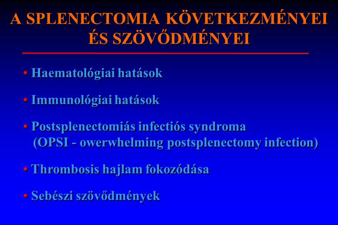 A SPLENECTOMIA KÖVETKEZMÉNYEI ÉS SZÖVŐDMÉNYEI l1. Haematologiai hatások 2. Immunológiai hatások 3. Postsplenectomiás infectios syndroma (OPSI-Owerwhel
