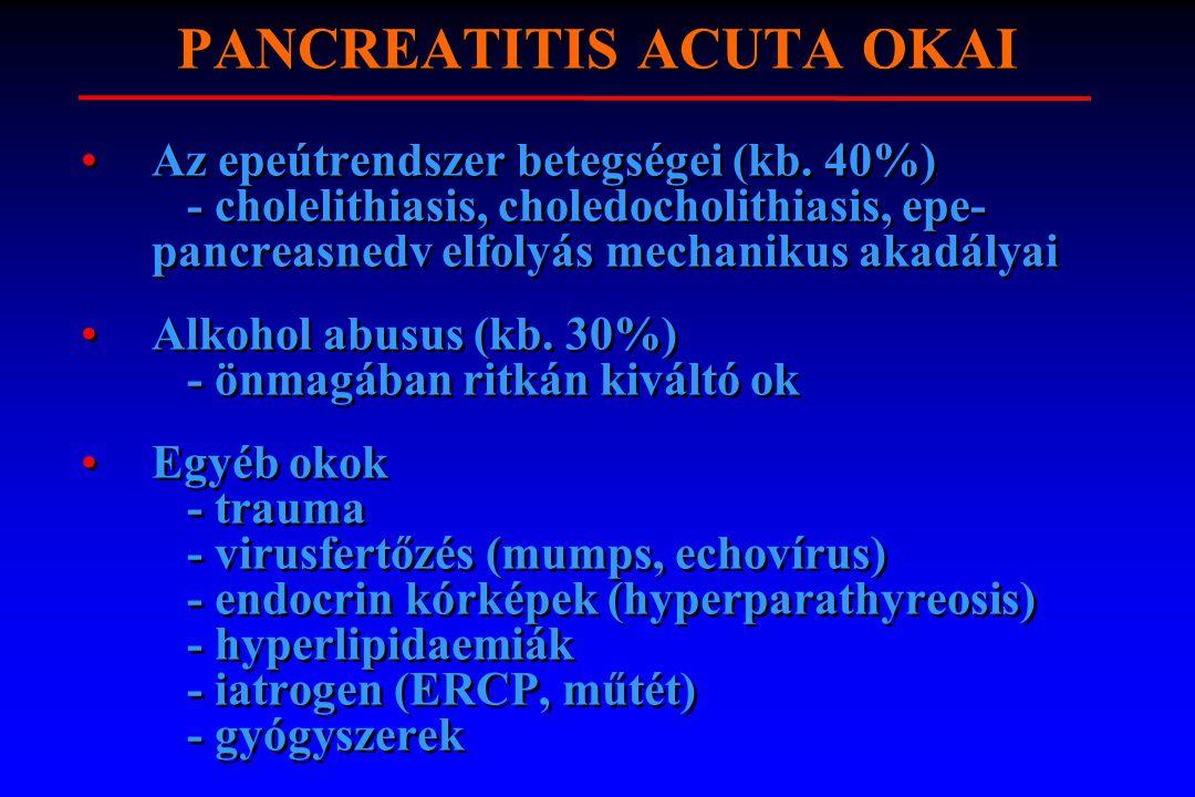 PANCREATITIS ACUTA OKAI Az epeútrendszer betegségei (kb. 40%) - cholelithiasis, choledocholithiasis, epe- pancreasnedv elfolyás mechanikus akadályai A