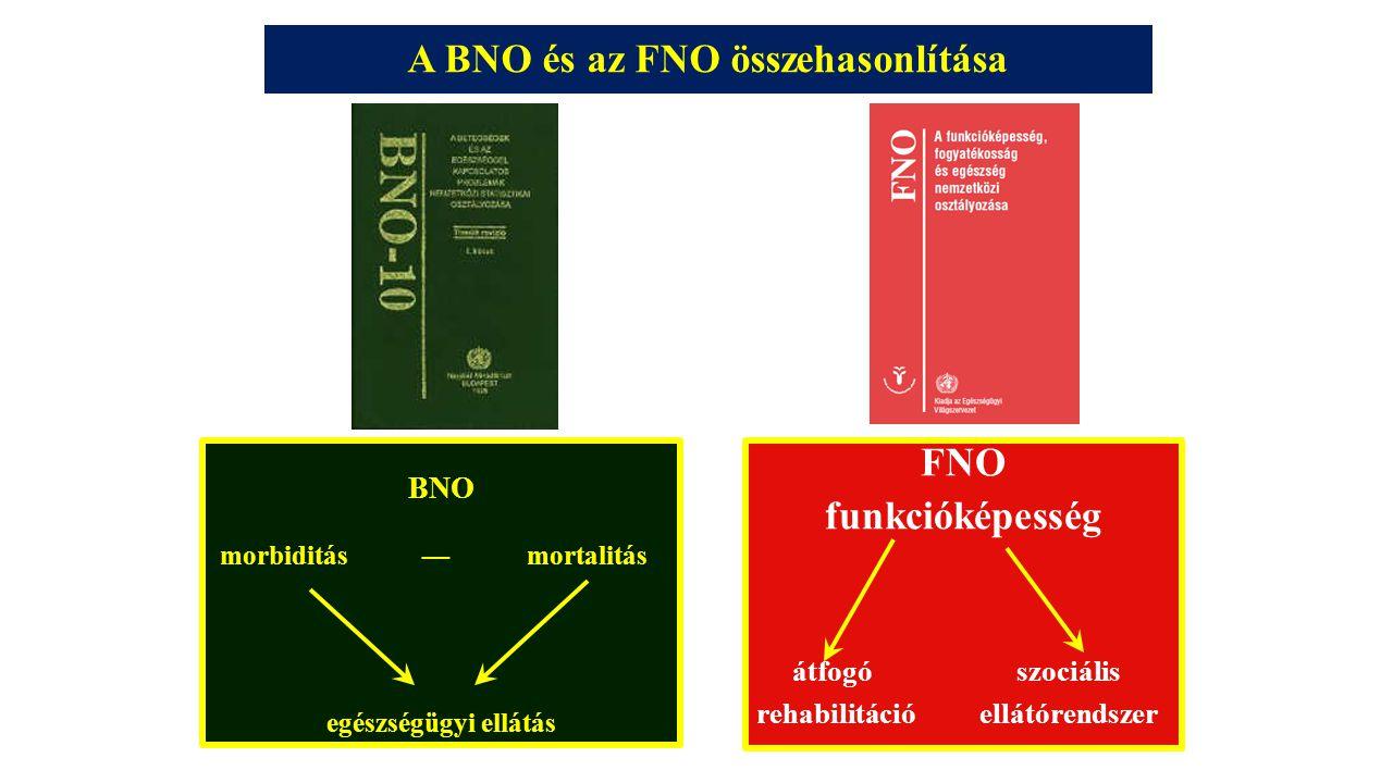 A BNO és az FNO összehasonlítása BNO morbiditás — mortalitás egészségügyi ellátás FNO funkcióképesség átfogó szociális rehabilitáció ellátórendszer