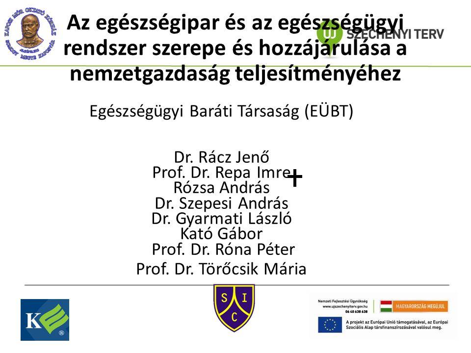 Az egészségipar és az egészségügyi rendszer szerepe és hozzájárulása a nemzetgazdaság teljesítményéhez Egészségügyi Baráti Társaság (EÜBT) Dr. Rácz Je