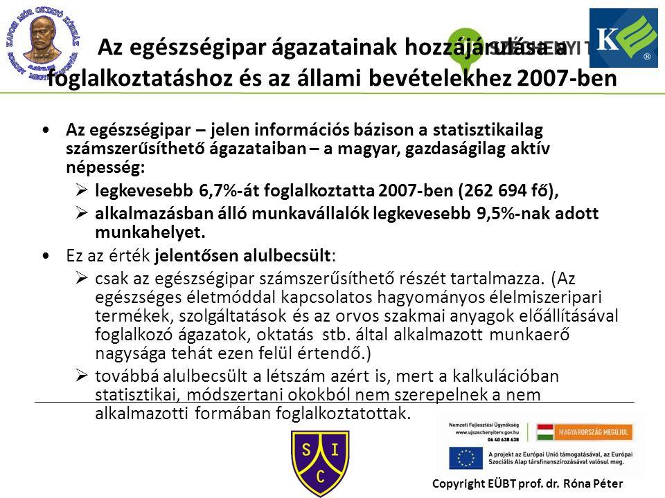Az egészségipar ágazatainak hozzájárulása a foglalkoztatáshoz és az állami bevételekhez 2007-ben Az egészségipar – jelen információs bázison a statisztikailag számszerűsíthető ágazataiban – a magyar, gazdaságilag aktív népesség:  legkevesebb 6,7%-át foglalkoztatta 2007-ben (262 694 fő),  alkalmazásban álló munkavállalók legkevesebb 9,5%-nak adott munkahelyet.