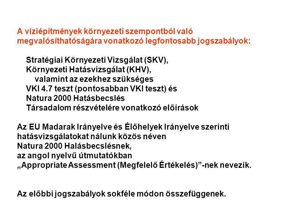 """A víziépítmények környezeti szempontból való megvalósíthatóságára vonatkozó legfontosabb jogszabályok: Stratégiai Környezeti Vizsgálat (SKV), Környezeti Hatásvizsgálat (KHV), valamint az ezekhez szükséges VKI 4.7 teszt (pontosabban VKI teszt) és Natura 2000 Hatásbecslés Társadalom részvételére vonatkozó előírások Az EU Madarak Irányelve és Élőhelyek Irányelve szerinti hatásvizsgálatokat nálunk közös néven Natura 2000 Halásbecslésnek, az angol nyelvű útmutatókban """"Appropriate Assessment (Megfelelő Értékelés) -nek nevezik."""