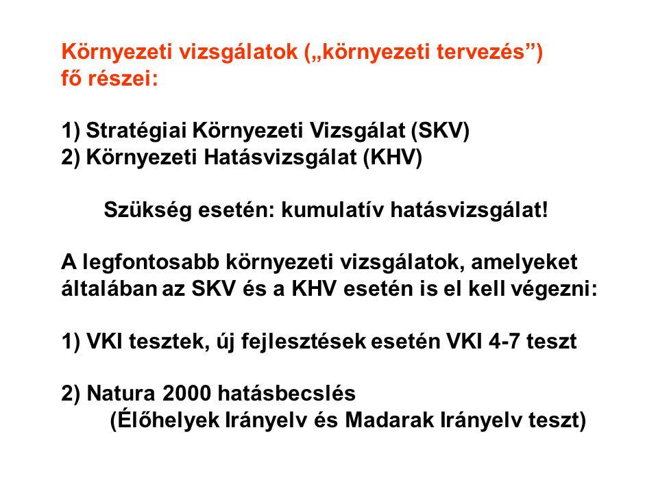 """Környezeti vizsgálatok (""""környezeti tervezés ) fő részei: 1)Stratégiai Környezeti Vizsgálat (SKV) 2)Környezeti Hatásvizsgálat (KHV) Szükség esetén: kumulatív hatásvizsgálat."""