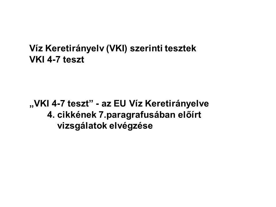"""Víz Keretirányelv (VKI) szerinti tesztek VKI 4-7 teszt """"VKI 4-7 teszt - az EU Víz Keretirányelve 4."""