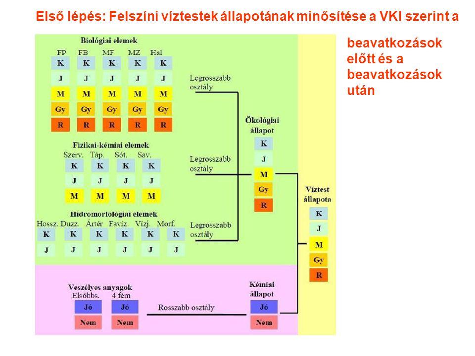 beavatkozások előtt és a beavatkozások után Első lépés: Felszíni víztestek állapotának minősítése a VKI szerint a