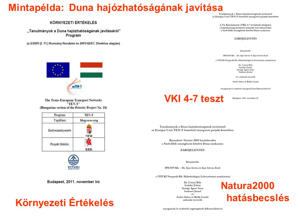 Környezeti Értékelés VKI 4-7 teszt Natura2000 hatásbecslés Mintapélda: Duna hajózhatóságának javítása