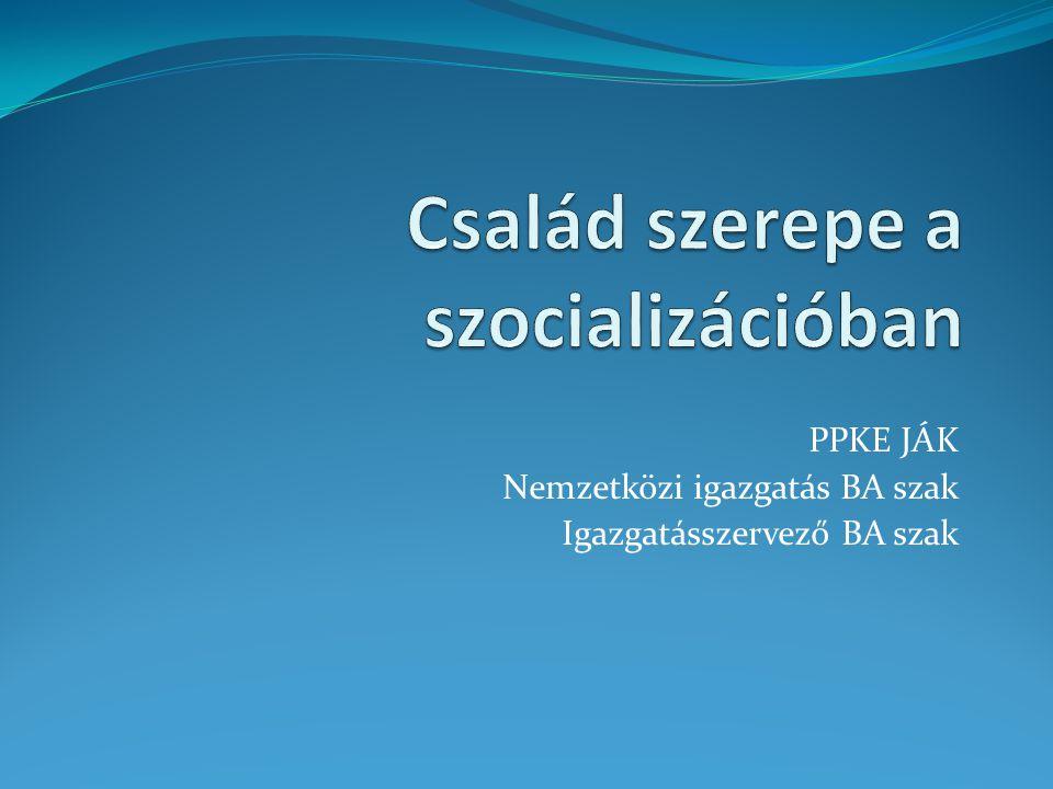 Család és szocializáció Tradicionális társadalom (- cc.