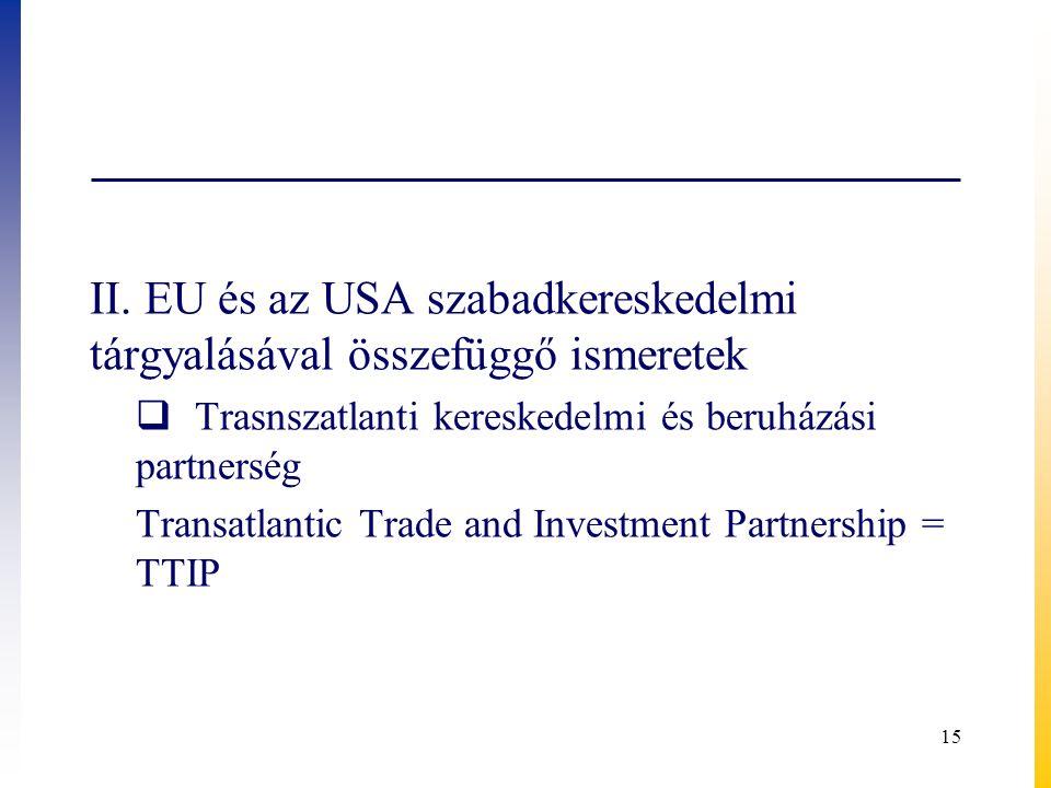 II. EU és az USA szabadkereskedelmi tárgyalásával összefüggő ismeretek  Trasnszatlanti kereskedelmi és beruházási partnerség Transatlantic Trade and