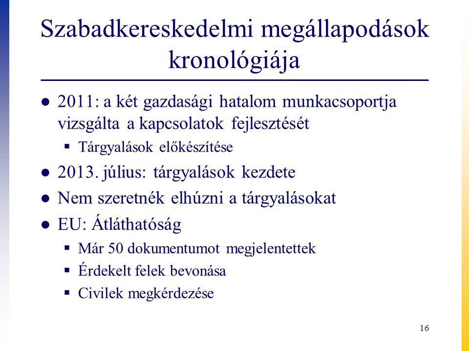 Szabadkereskedelmi megállapodások kronológiája ● 2011: a két gazdasági hatalom munkacsoportja vizsgálta a kapcsolatok fejlesztését  Tárgyalások előké