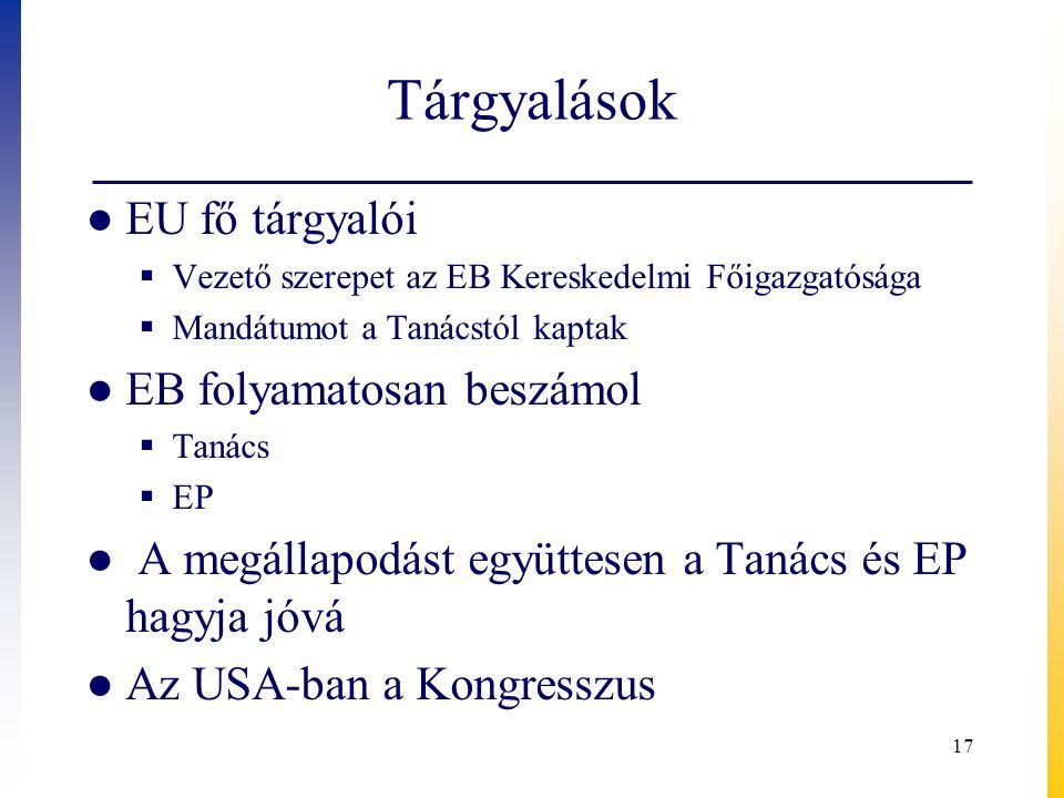 Tárgyalások ● EU fő tárgyalói  Vezető szerepet az EB Kereskedelmi Főigazgatósága  Mandátumot a Tanácstól kaptak ● EB folyamatosan beszámol  Tanács