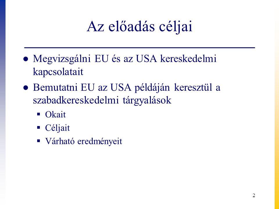 Az előadás céljai ● Megvizsgálni EU és az USA kereskedelmi kapcsolatait ● Bemutatni EU az USA példáján keresztül a szabadkereskedelmi tárgyalások  Ok
