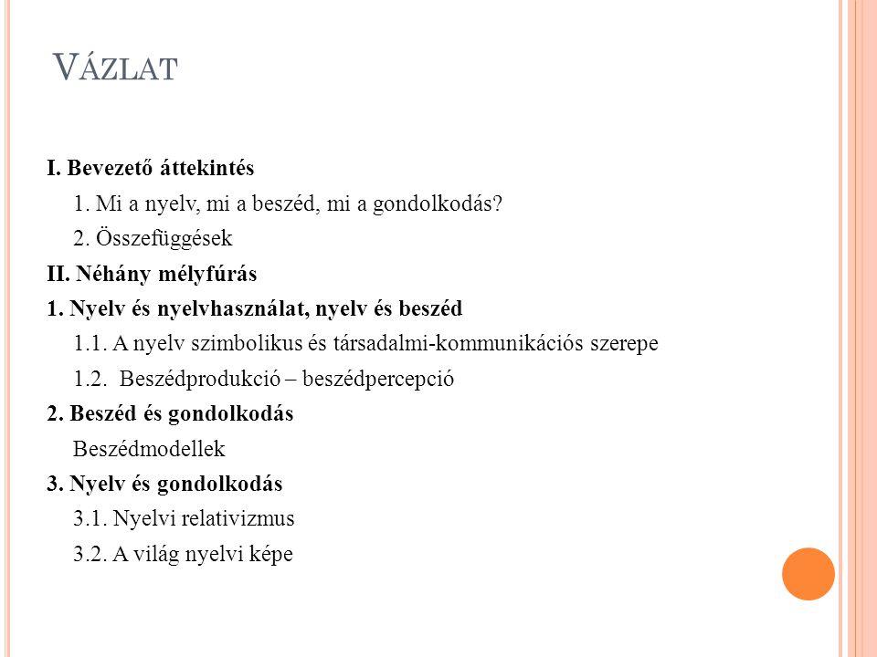 V ÁZLAT I. Bevezető áttekintés 1. Mi a nyelv, mi a beszéd, mi a gondolkodás? 2. Összefüggések II. Néhány mélyfúrás 1. Nyelv és nyelvhasználat, nyelv é