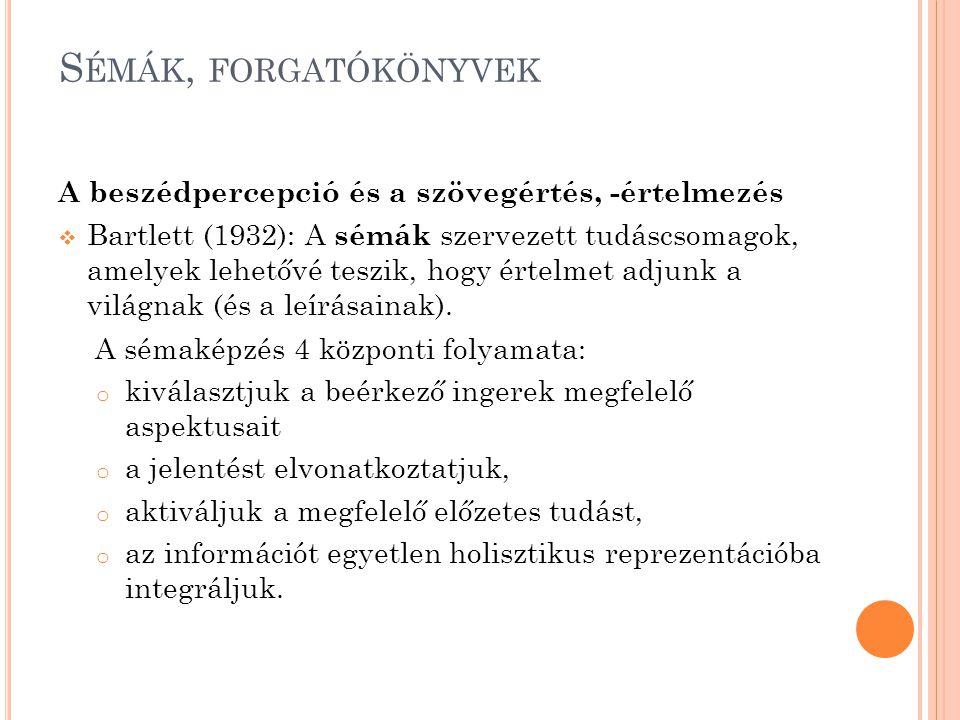 S ÉMÁK, FORGATÓKÖNYVEK A beszédpercepció és a szövegértés, -értelmezés  Bartlett (1932): A sémák szervezett tudáscsomagok, amelyek lehetővé teszik, h