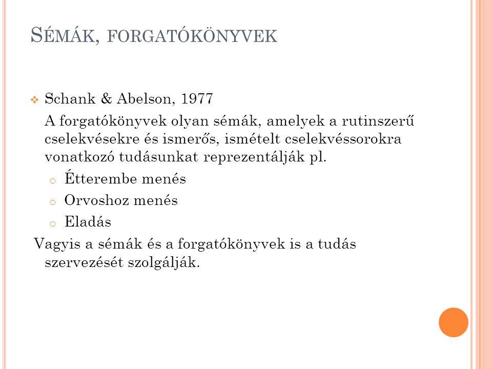 S ÉMÁK, FORGATÓKÖNYVEK  Schank & Abelson, 1977 A forgatókönyvek olyan sémák, amelyek a rutinszerű cselekvésekre és ismerős, ismételt cselekvéssorokra