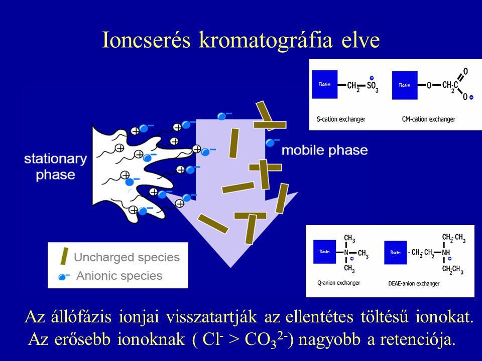 Ioncserés kromatográfia elve Az állófázis ionjai visszatartják az ellentétes töltésű ionokat. Az erősebb ionoknak ( Cl - > CO 3 2- ) nagyobb a retenci