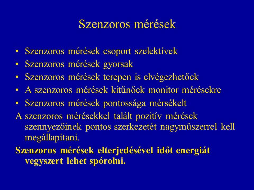 Szenzoros mérések Szenzoros mérések csoport szelektívek Szenzoros mérések gyorsak Szenzoros mérések terepen is elvégezhetőek A szenzoros mérések kitűn