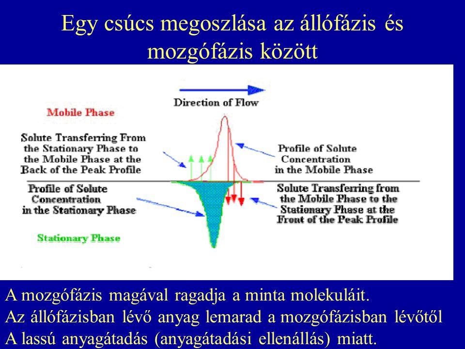 Egy csúcs megoszlása az állófázis és mozgófázis között A mozgófázis magával ragadja a minta molekuláit. Az állófázisban lévő anyag lemarad a mozgófázi