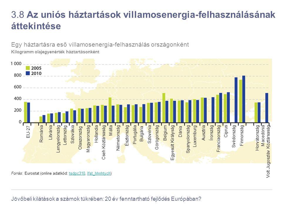 Jövőbeli kilátások a számok tükrében: 20 év fenntartható fejlődés Európában? 3.8 Az uniós háztartások villamosenergia-felhasználásának áttekintése For
