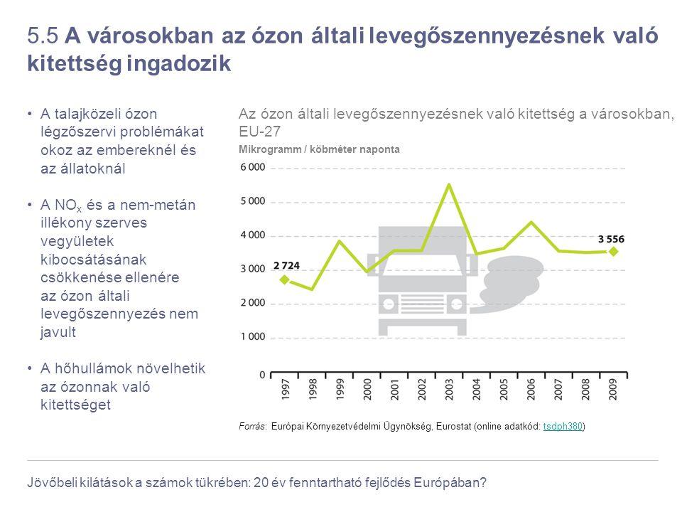 Jövőbeli kilátások a számok tükrében: 20 év fenntartható fejlődés Európában? 5.5 A városokban az ózon általi levegőszennyezésnek való kitettség ingado
