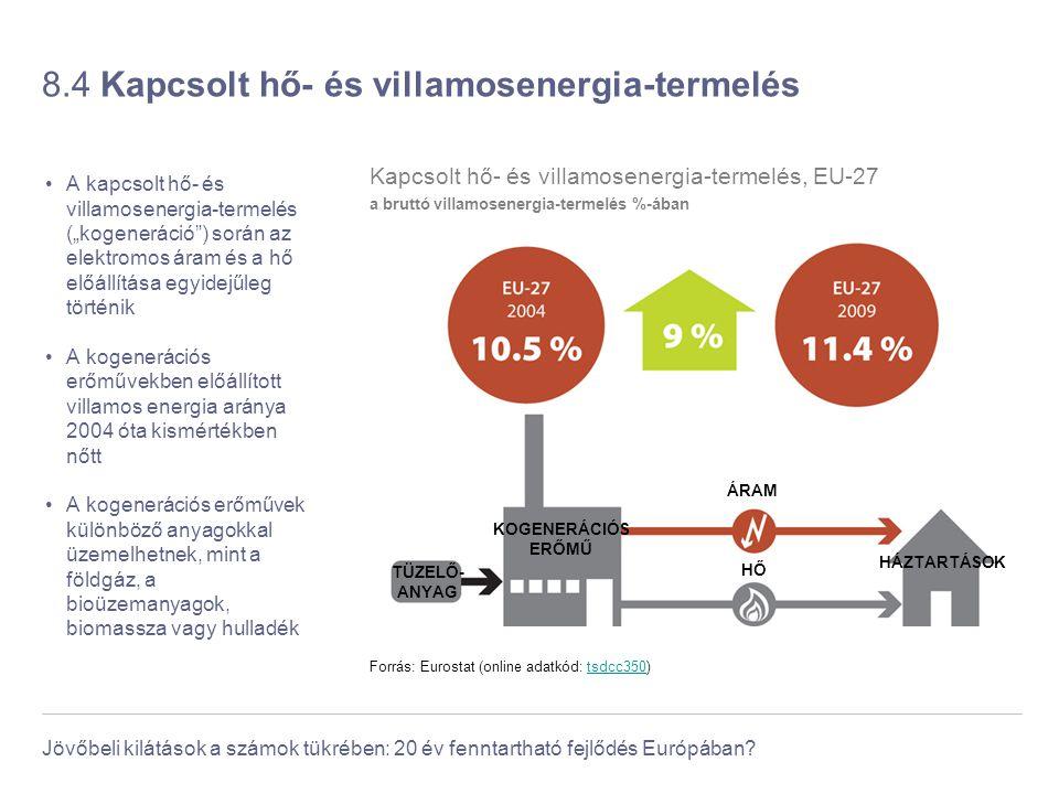 Jövőbeli kilátások a számok tükrében: 20 év fenntartható fejlődés Európában? 8.4 Kapcsolt hő- és villamosenergia-termelés A kapcsolt hő- és villamosen