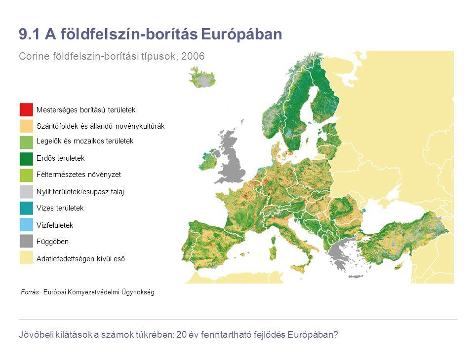 Jövőbeli kilátások a számok tükrében: 20 év fenntartható fejlődés Európában? 9.1 A földfelszín-borítás Európában Forrás: Európai Környezetvédelmi Ügyn