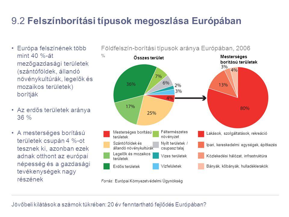 Jövőbeli kilátások a számok tükrében: 20 év fenntartható fejlődés Európában? 9.2 Felszínborítási típusok megoszlása Európában Európa felszínének több