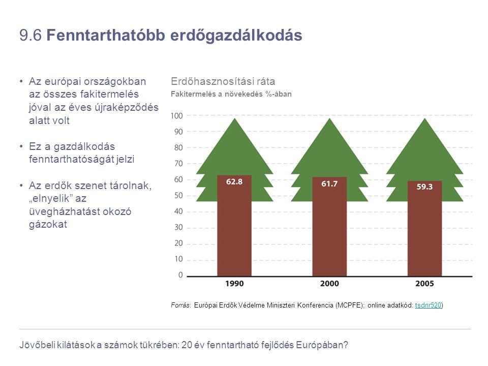 Jövőbeli kilátások a számok tükrében: 20 év fenntartható fejlődés Európában? 9.6 Fenntarthatóbb erdőgazdálkodás Az európai országokban az összes fakit