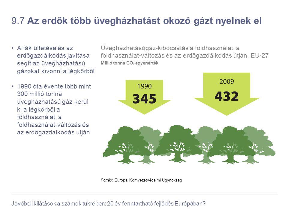 Jövőbeli kilátások a számok tükrében: 20 év fenntartható fejlődés Európában? 9.7 Az erdők több üvegházhatást okozó gázt nyelnek el A fák ültetése és a
