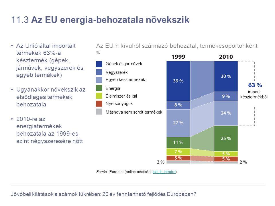 Jövőbeli kilátások a számok tükrében: 20 év fenntartható fejlődés Európában? 11.3 Az EU energia-behozatala növekszik Az Unió által importált termékek