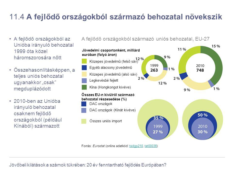 Jövőbeli kilátások a számok tükrében: 20 év fenntartható fejlődés Európában? 11.4 A fejlődő országokból származó behozatal növekszik A fejlődő országo
