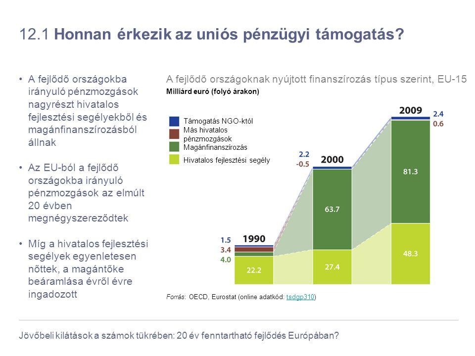 Jövőbeli kilátások a számok tükrében: 20 év fenntartható fejlődés Európában? 12.1 Honnan érkezik az uniós pénzügyi támogatás? A fejlődő országokba irá