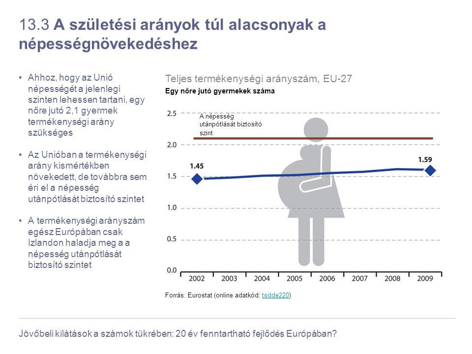 Jövőbeli kilátások a számok tükrében: 20 év fenntartható fejlődés Európában? 13.3 A születési arányok túl alacsonyak a népességnövekedéshez Ahhoz, hog