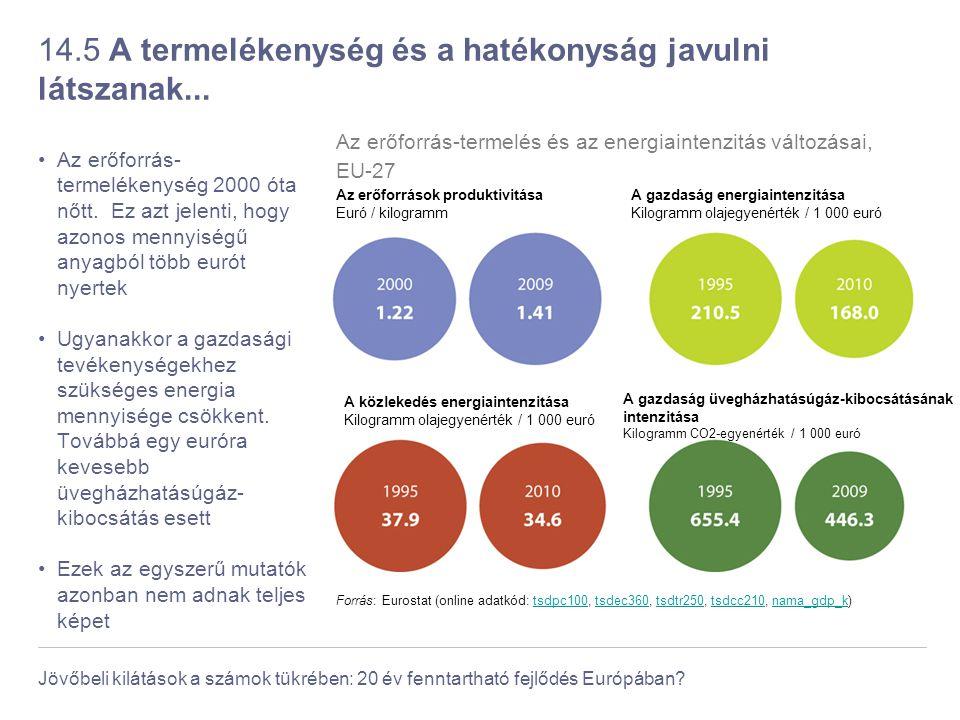 Jövőbeli kilátások a számok tükrében: 20 év fenntartható fejlődés Európában? 14.5 A termelékenység és a hatékonyság javulni látszanak... Az erőforrás-