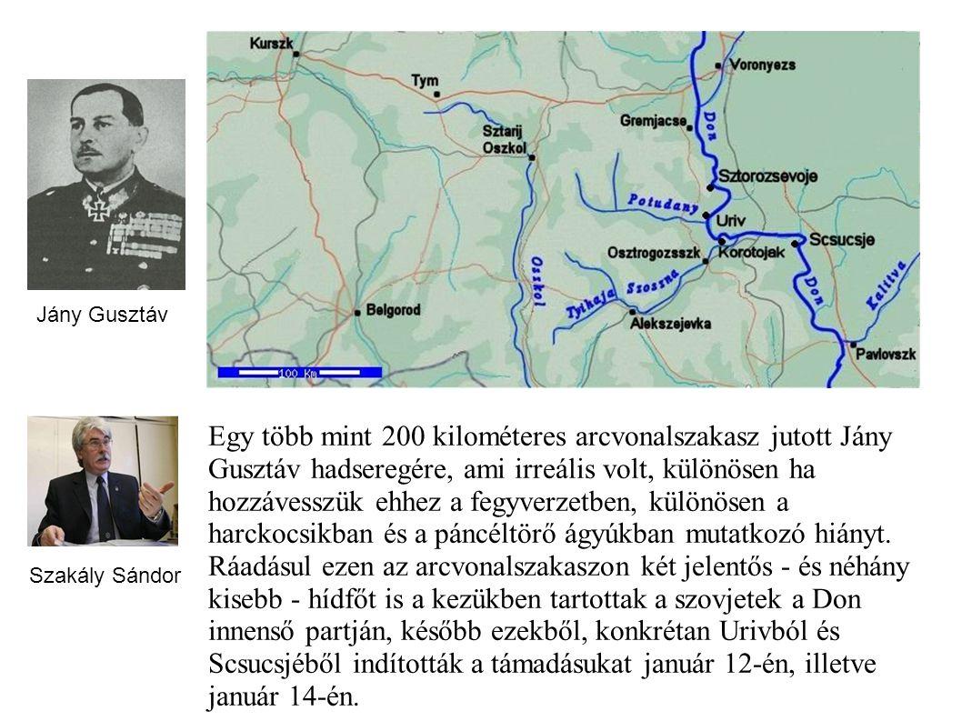 Egy több mint 200 kilométeres arcvonalszakasz jutott Jány Gusztáv hadseregére, ami irreális volt, különösen ha hozzávesszük ehhez a fegyverzetben, kül