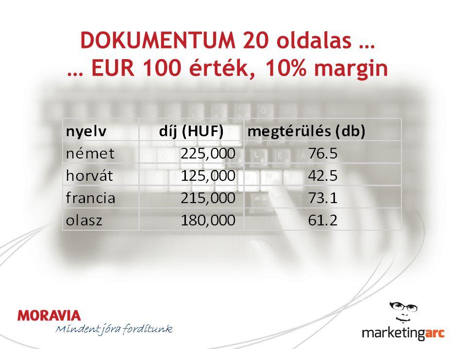 DOKUMENTUM 20 oldalas … … EUR 100 érték, 10% margin Mindent jóra fordítunk
