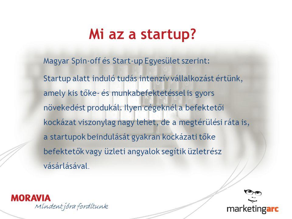 Mi az a startup? Mindent jóra fordítunk Magyar Spin-off és Start-up Egyesület szerint: Startup alatt induló tudás intenzív vállalkozást értünk, amely