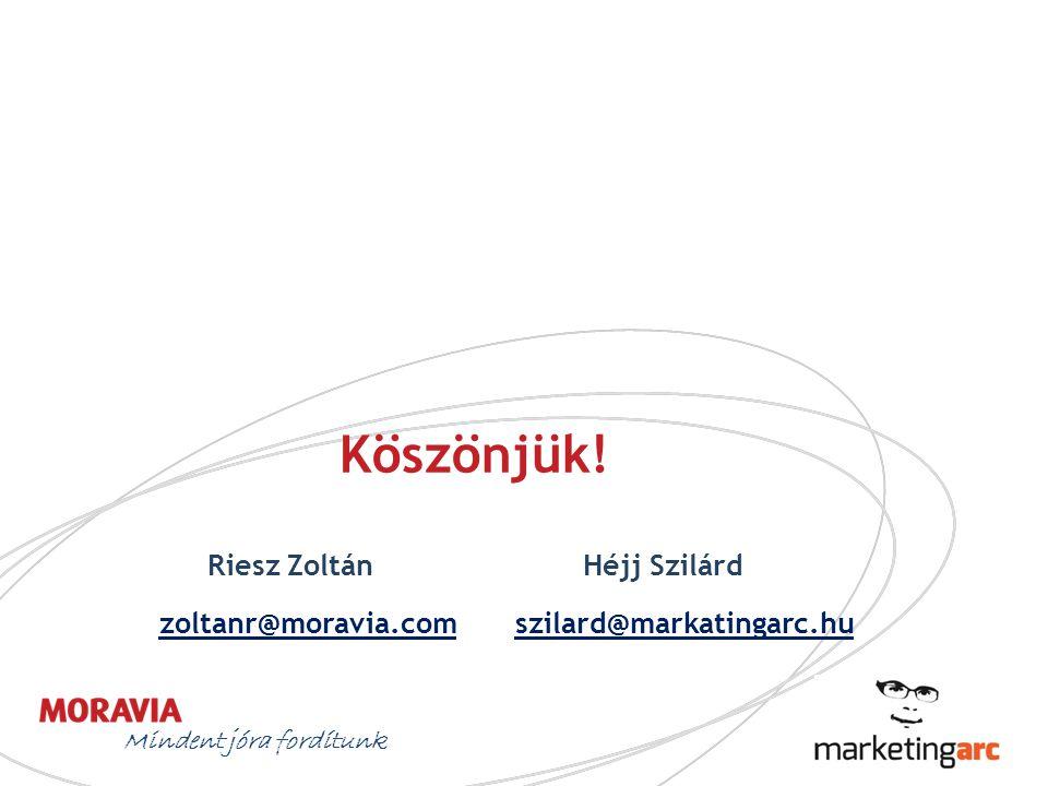 Mindent jóra fordítunk Köszönjük! Riesz Zoltán Héjj Szilárd zoltanr@moravia.comszilard@markatingarc.hu