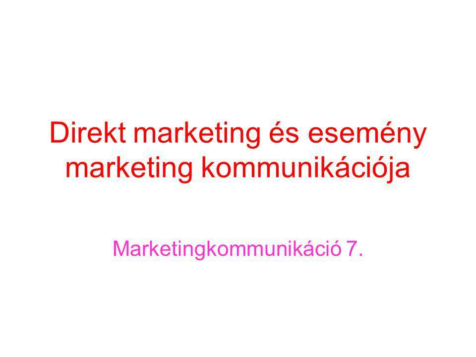 Direkt marketing és esemény marketing kommunikációja Marketingkommunikáció 7.