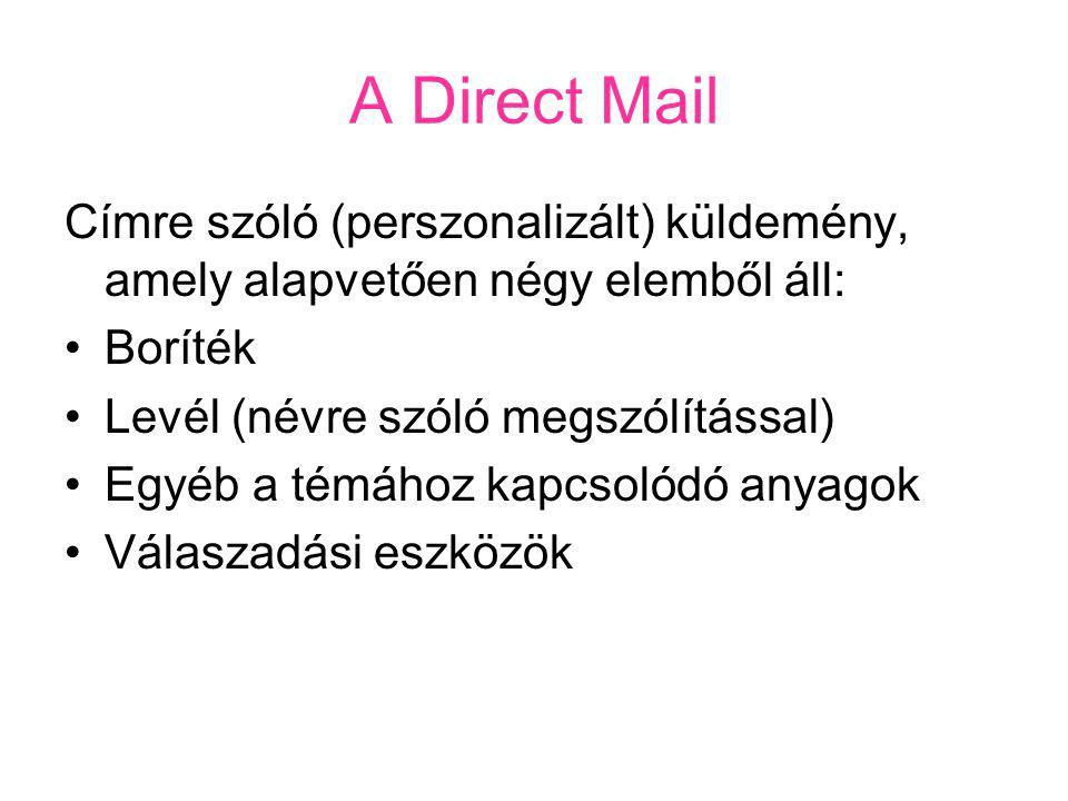 A Direct Mail Címre szóló (perszonalizált) küldemény, amely alapvetően négy elemből áll: Boríték Levél (névre szóló megszólítással) Egyéb a témához kapcsolódó anyagok Válaszadási eszközök