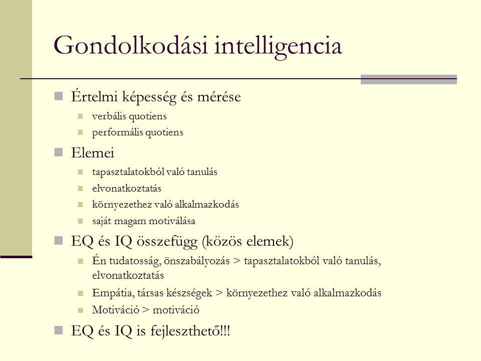 Gondolkodási intelligencia Értelmi képesség és mérése verbális quotiens performális quotiens Elemei tapasztalatokból való tanulás elvonatkoztatás körn