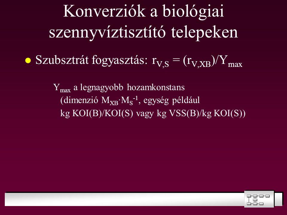 Konverziók a biológiai szennyvíztisztító telepeken Szubsztrát fogyasztás: r V,S = (r V,XB )/Y max Y max a legnagyobb hozamkonstans (dimenzió M XB ·M S