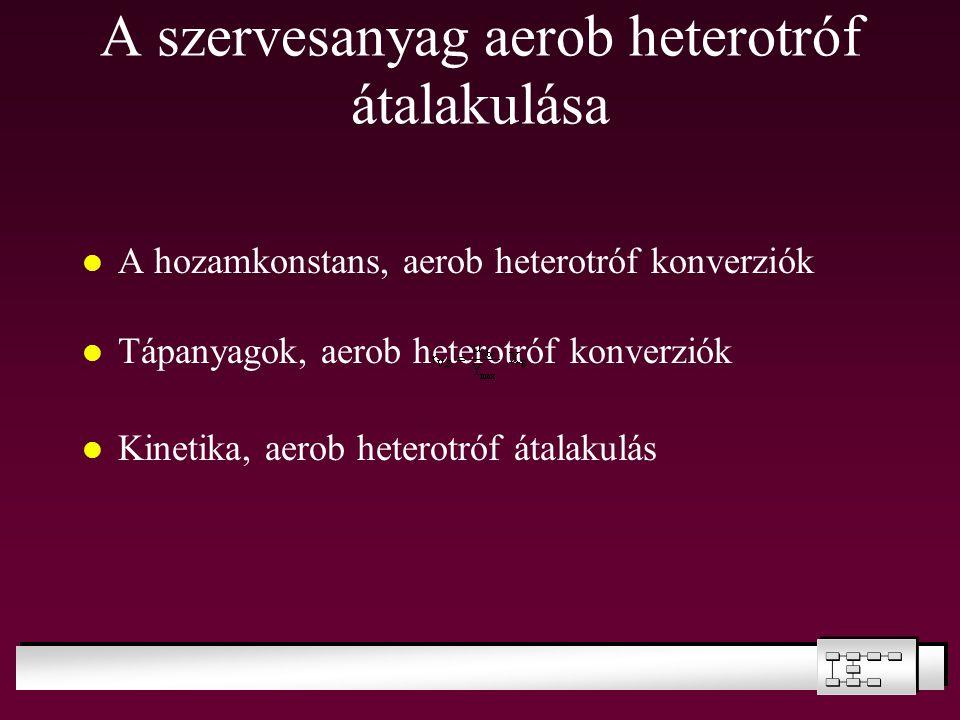 A szervesanyag aerob heterotróf átalakulása A hozamkonstans, aerob heterotróf konverziók Tápanyagok, aerob heterotróf konverziók Kinetika, aerob heter