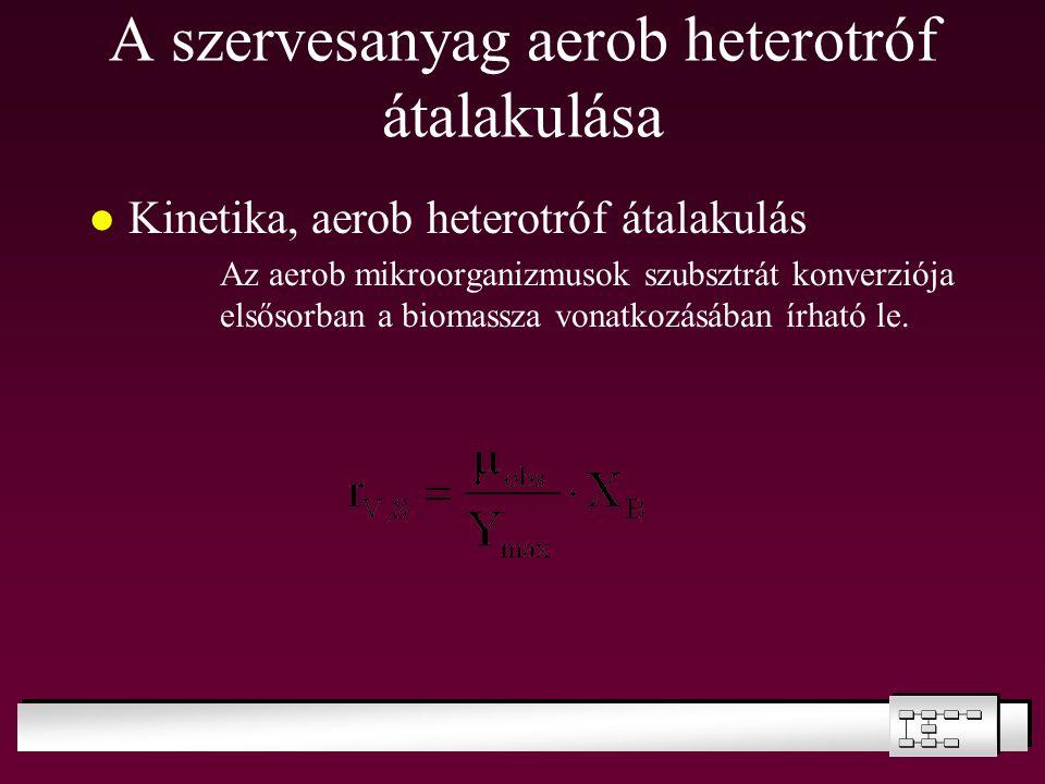 A szervesanyag aerob heterotróf átalakulása Kinetika, aerob heterotróf átalakulás Az aerob mikroorganizmusok szubsztrát konverziója elsősorban a bioma