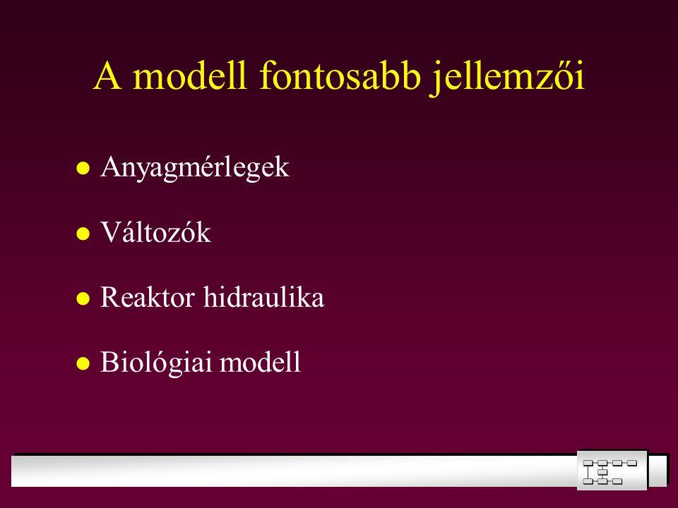 A modell fontosabb jellemzői Anyagmérlegek Változók Reaktor hidraulika Biológiai modell