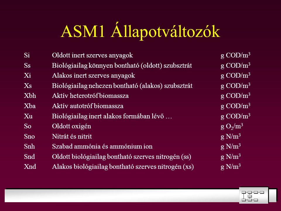 ASM1 Állapotváltozók SiOldott inert szerves anyagokg COD/m 3 SsBiológiailag könnyen bontható (oldott) szubsztrátg COD/m 3 XiAlakos inert szerves anyag